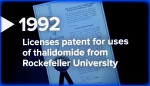 Celgene patents to use thalidomide from Rockefeller University
