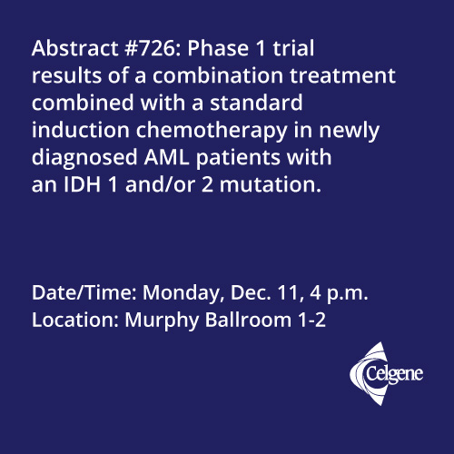 Dec. 11 | Dr. Stein presents results from a combination treatment with chemotherapy in newly diagnosed AML