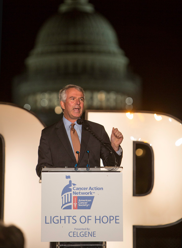 CELGENE CEO BOB HUGIN INSPIRES LIGHTS OF HOPE ATTENDEES BY DISCUSSING THE FUTURE OF CANCER CARE.