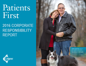 TO LEARN MORE ABOUT HOW CELGENE IS CONSTANTLY STRIVING TO PUT PATIENTS FIRST, READ THE 2016 CELGENE CORPORATE RESPONSIBILITY REPORT.