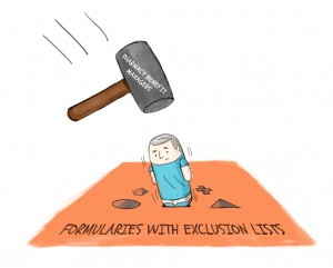 Formularies with exclusion lists cartoon