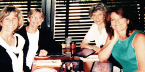 CAROLYNN KIEL (FAR LEFT) AND HER FAMILY HAVE BEEN IMPACTED BY PANCREATIC CANCER. HER SISTER MARILYNN (LEFT) AND HER MOTHER (RIGHT) BOTH PASSED AWAY FROM THE DISEASE IN 2002. HER DAUGHTER STACY (FAR RIGHT) GETS ANNUAL SCREENING FOR THE DISEASE.