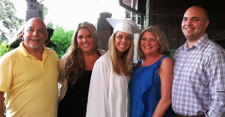 JOE STIVALA (FAR LEFT) CELEBRATES HIS YOUNGER DAUGHTER'S HIGH SCHOOL GRADUATION WITH HIS OTHER CHILDREN AND EX-WIFE.