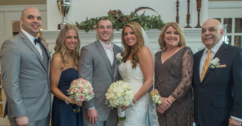 LUNG CANCER SURVIVOR JOE STIVALA (FAR RIGHT) IS THANKFUL THAT HE WAS ABLE TO WATCH HIS OLDEST DAUGHTER GET MARRIED IN 2014.