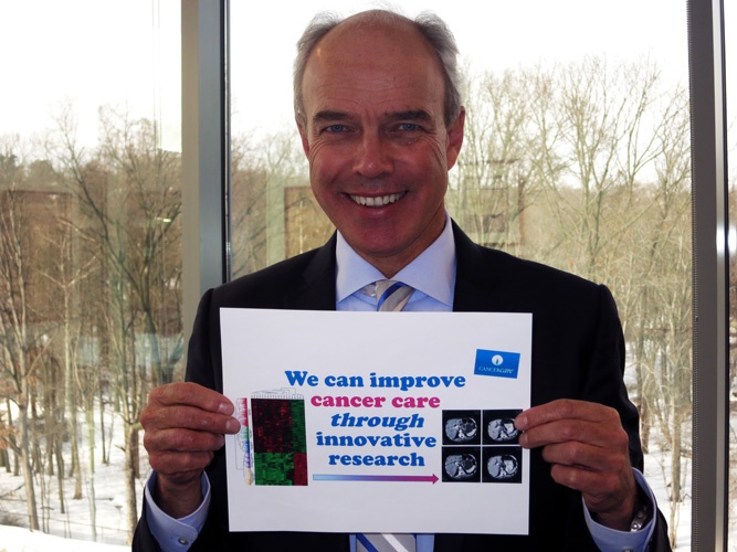 : Dr. Markus Renschler, Senior Vice President and Global Head of Hematology & Oncology Medical Affairs at Celgene, believes that the cancer research community can improve cancer care through innovative research as part of the Talking Hands campaign for World Cancer Day 2016.