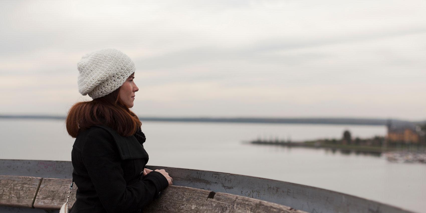 woman overlooking water