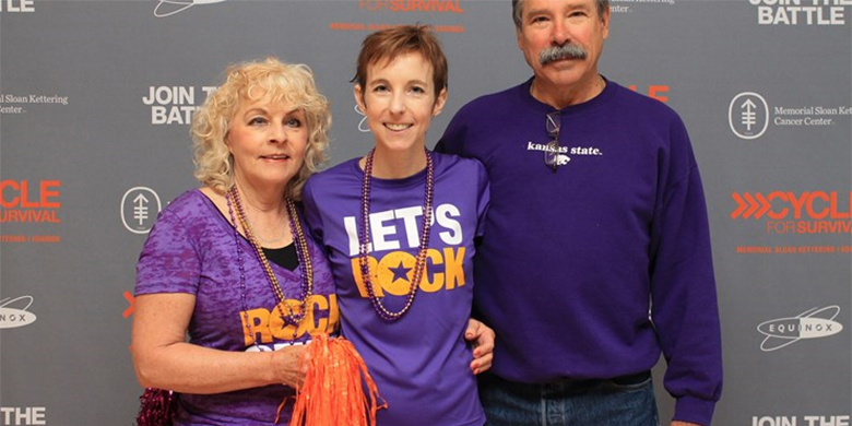 AMY WOLVERTON'S (CENTER) PARENTS, JANICE AND LEE BURKHEAD, HAVE BEEN SUPPORTING HER THROUGHOUT HER JOURNEY WITH MULTIPLE MYELOMA TREATMENT.