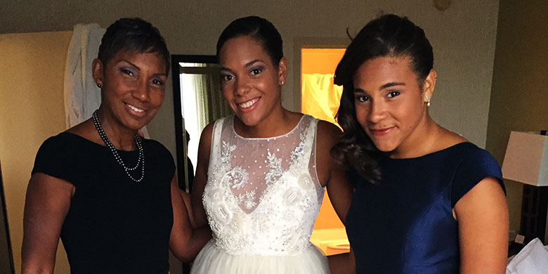 DESPITE HER DIAGNOSIS OF TRIPLE-NEGATIVE BREAST CANCER, RICKI FAIRLEY (LEFT) WAS DETERMINED TO SEE HER OLDEST DAUGHTER AMANDA'S (CENTER) WEDDING DAY. HER YOUNGER DAUGHTER HAYLEY (RIGHT) WAS A BRIDESMAID AT HER SISTER'S WEDDING.