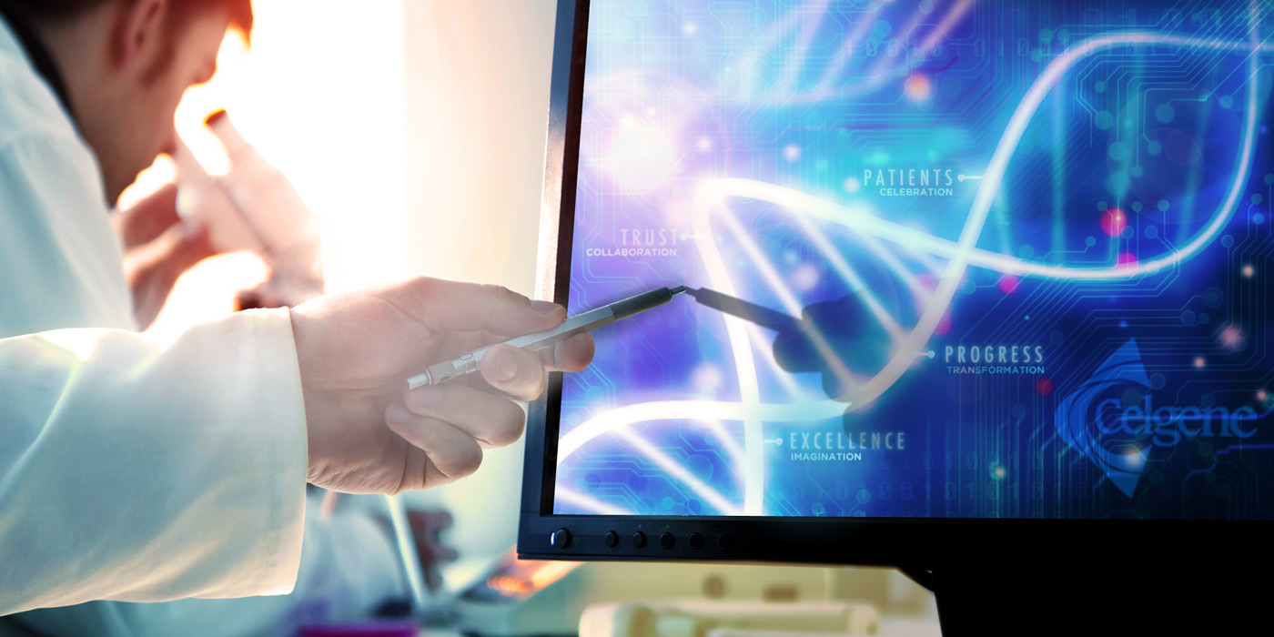 Scientist pointing pen at computer screen