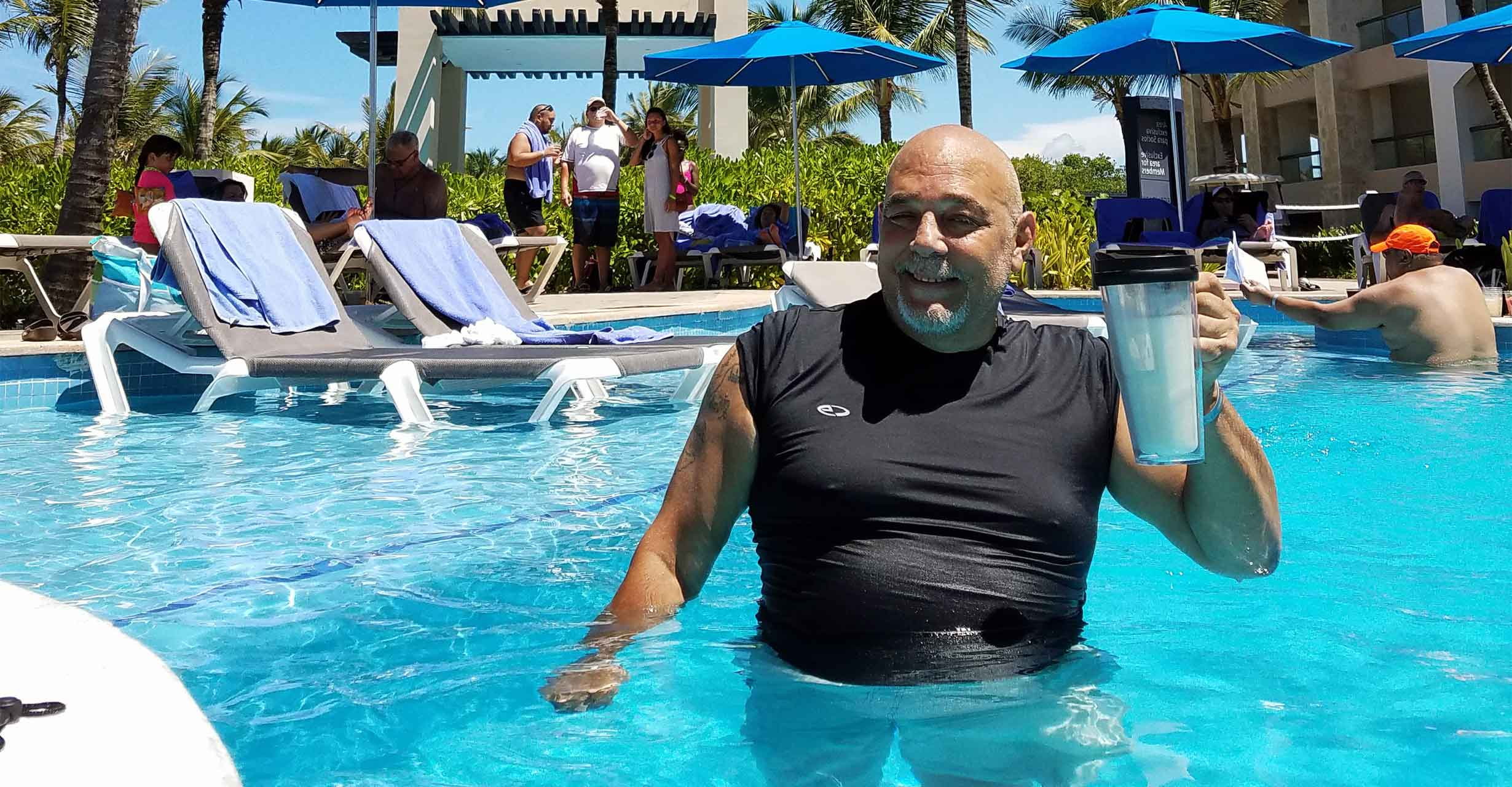 Joe Stivala standing in pool