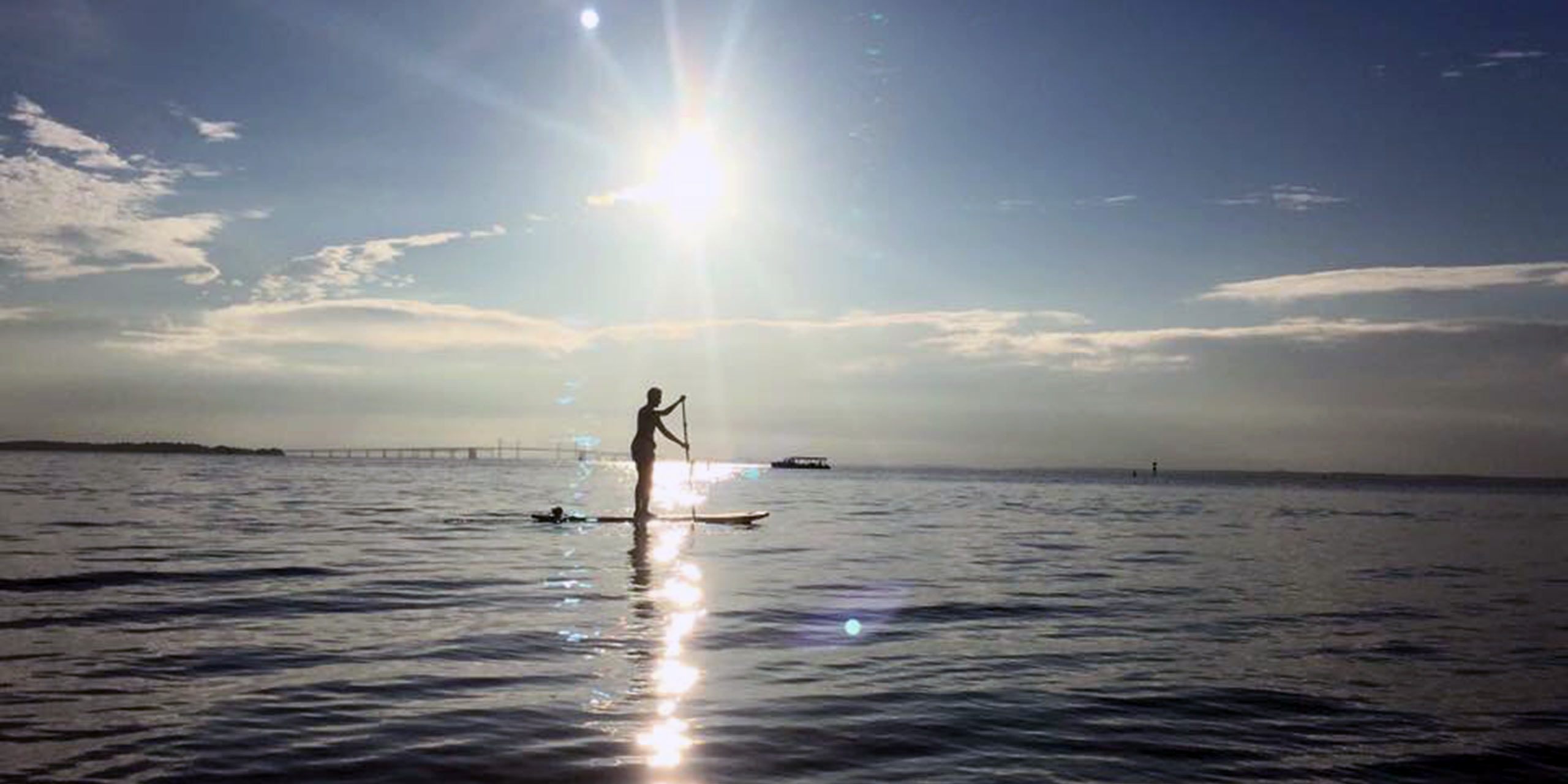 paddleboarding on water