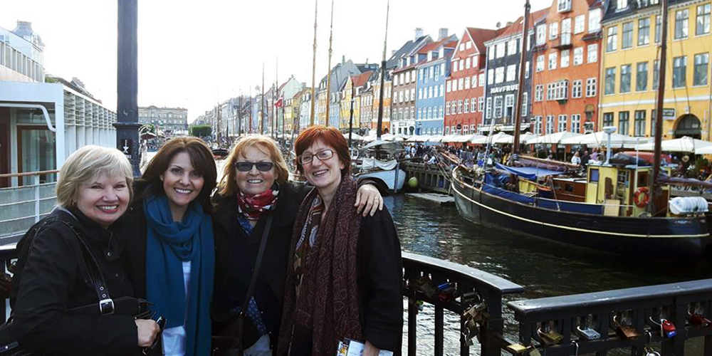 IRACA (SECOND FROM LEFT) AND COLLEAGUES HAVE TRAVELED AROUND THE WORLD HIGHLIGHTING THE NEED FOR MORE MDS RESEARCH AT MEDICAL CONFERENCES, INCLUDING THE 21st CONGRESS OF THE EUROPEAN HEMATOLOGY ASSOCIATION IN COPENHAGEN.